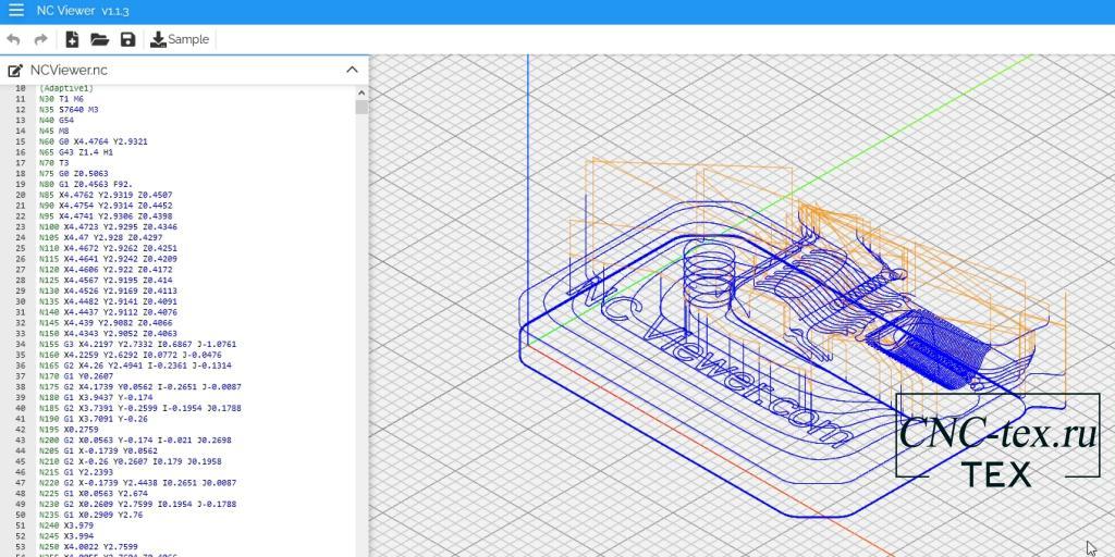 Nc Viewer - это редактор и симулятор G-Code в браузере