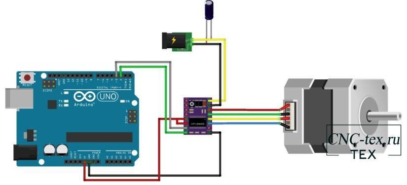 Подключим двигатель DRV8825 к Arduino UNO по схеме.