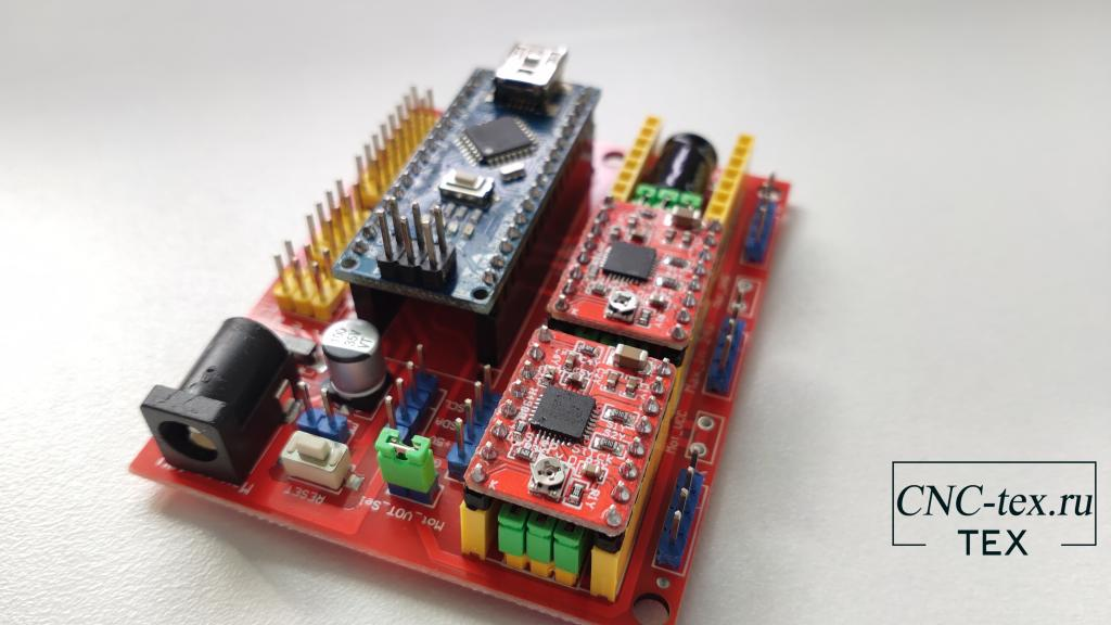 Драйвер A4988 можно установить на CNC shield v3 и CNC shield v4