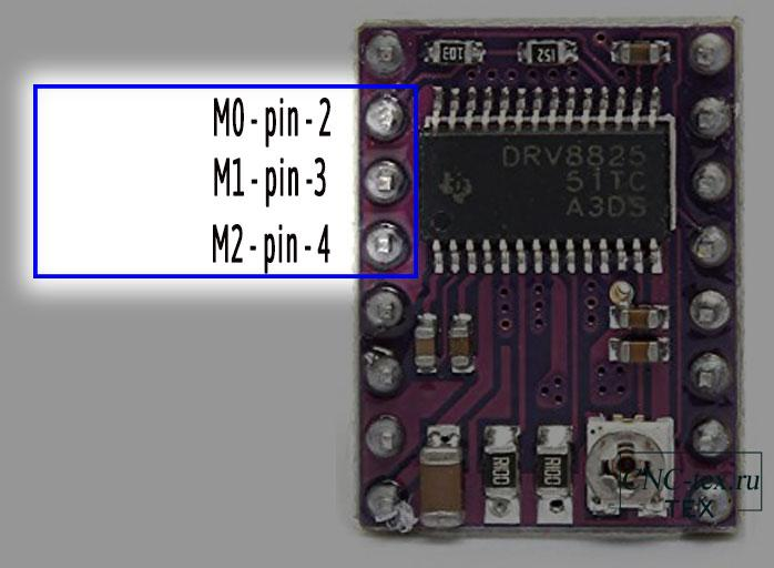 Настройка микрошага драйвера DRV8825.
