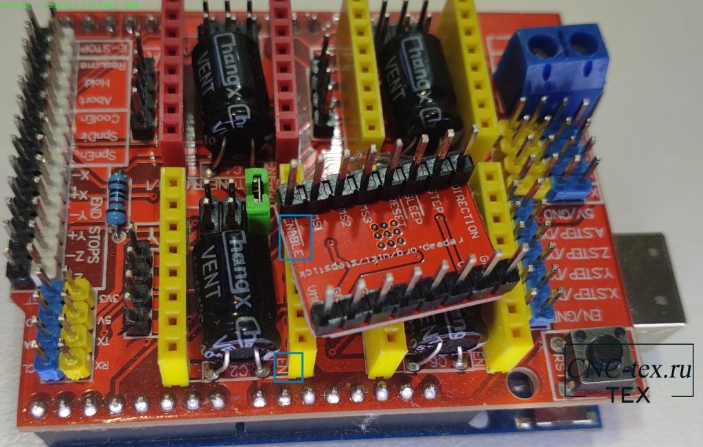 После установки деления шага, устанавливаем драйвер A4988 в разъёмы с надписью X и Y.