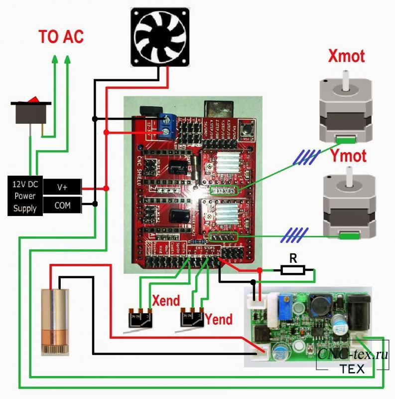 Схема подключения cnc shield v3.0 + arduino uno + TTl и лазер.
